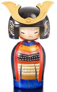 General samurai kokeshi doll
