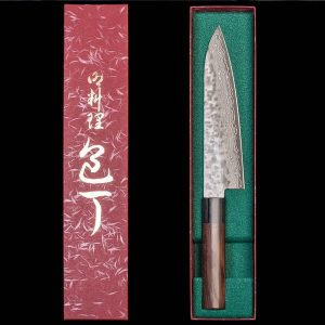 Gyuto Japanese kitchen knife with sandalwood handle