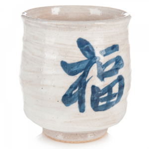 White Happiness Japanese Tea Cup