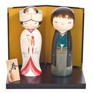 Traditional Japanese wedding kokeshi dolls
