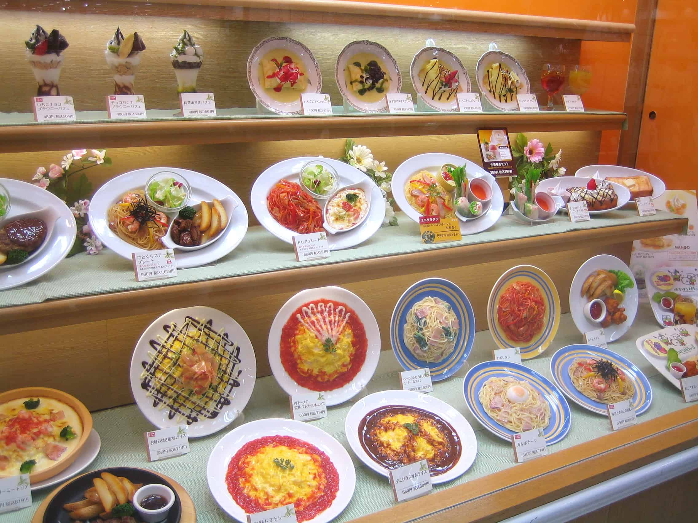 fake-food-japanese-window-display eating out in japan
