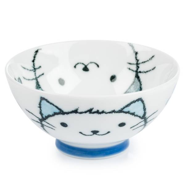 white-lucky-cat rice bowl japanese tableware