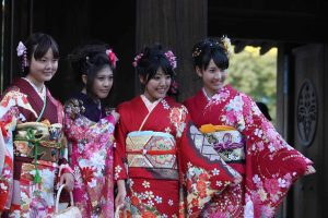 Kimonos at Coming of Age Ceremony