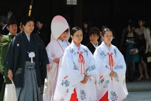 Japanese wedding wearing kimonos