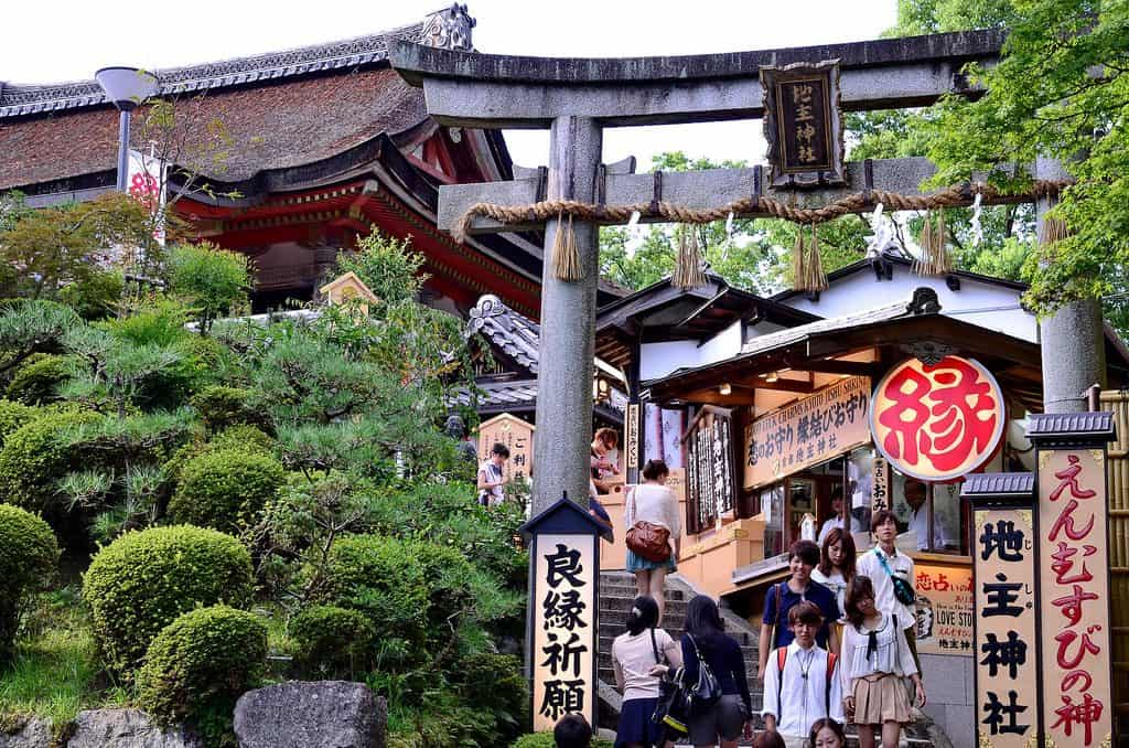 People walking to and from the Jishu Shrine, a centrepiece of Japanese romance