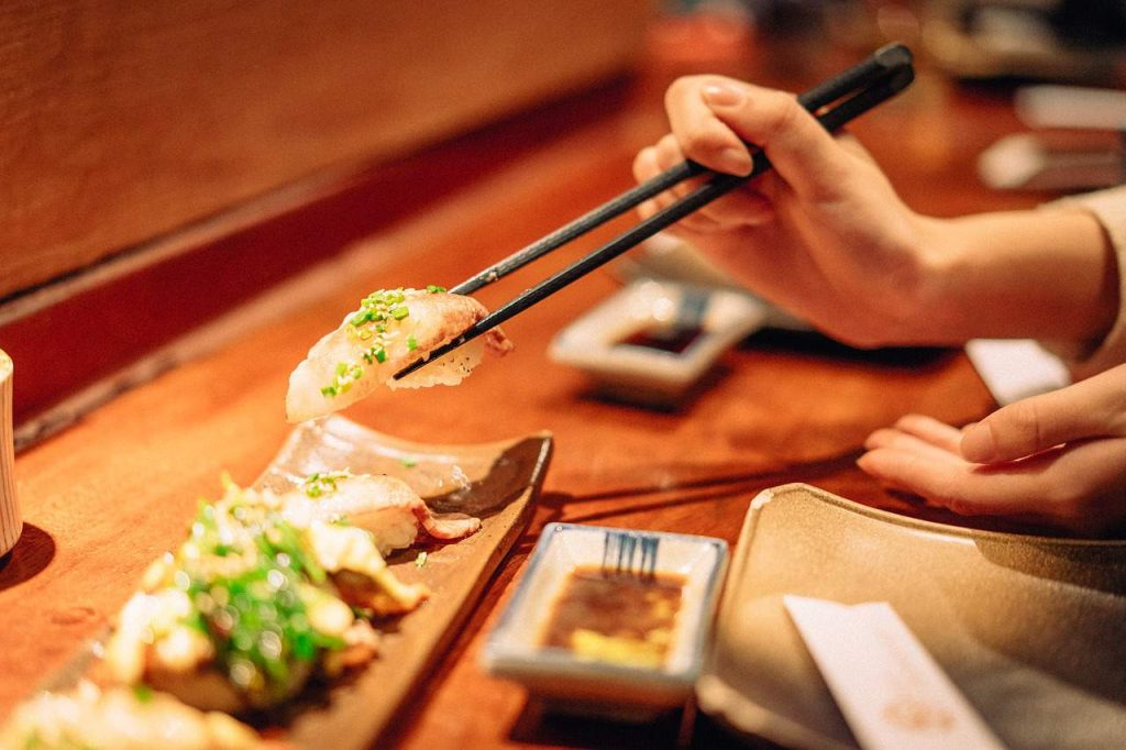 Japanese table manners shown by good chopstick etiquette