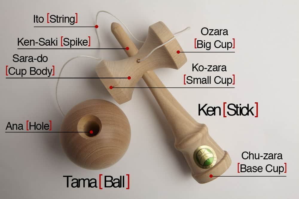 labelled kendama traditional