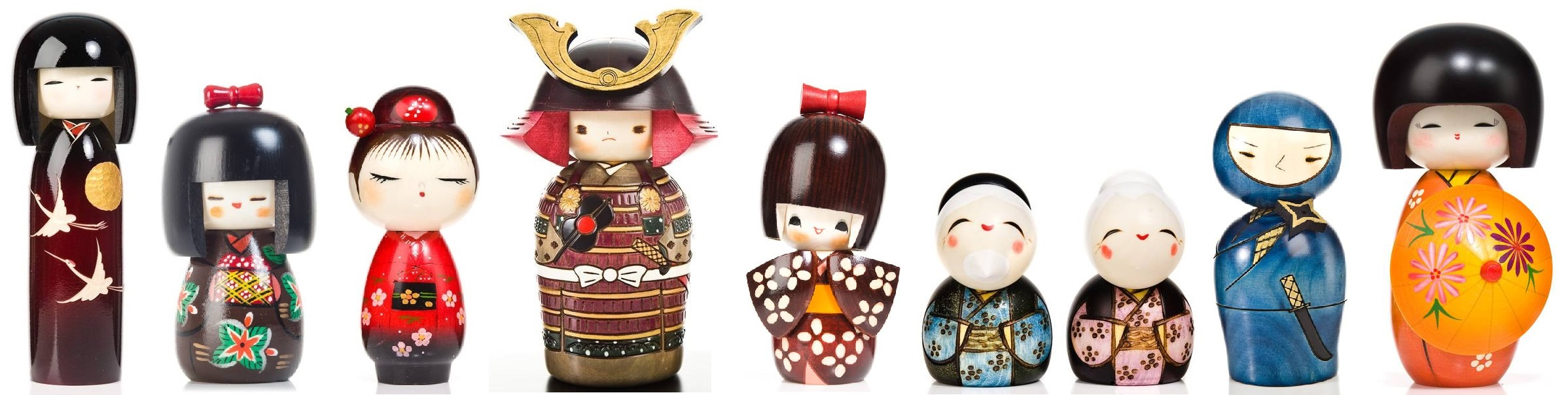 Contemporary kokeshi dolls