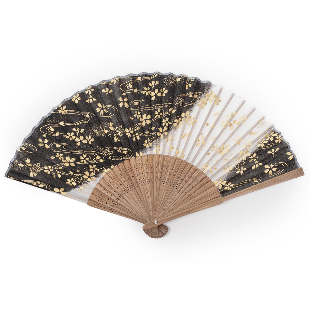 Black Cherry Blossom Japanese Folding Fan Japanese Fans