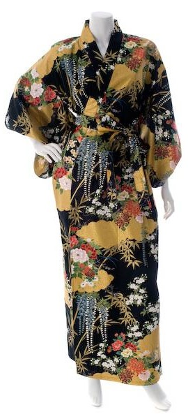 Japanese kimono with black and gold print