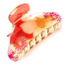 Red Cherry Blossom Japanese Hair Claw