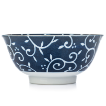 Blue Karakusa Ceramic Japanese Tayou Bowl side
