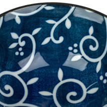 Blue Karakusa Ceramic Japanese Tayou Bowl detail