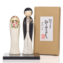 Bride and Groom Kokeshi Doll Wedding Gift Set With Gift Box