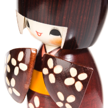 Happy Girl in Kimono Authentic Kokeshi Doll detail