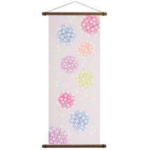 Hydrangea Tenugui Japanese Cotton Towel with hanging poles