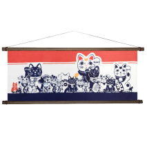 Lucky Cat Tenugui Japanese Hand Towel with hanging poles