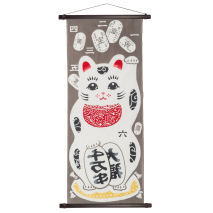 Maneki Neko Traditional Cotton Japanese Cotton Tenugui and hanging poles