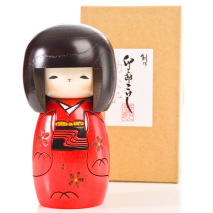 Red Happy Girl Japanese Kokeshi Doll and gift box