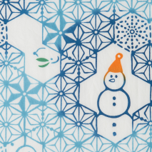 Snowman Traditional Japanese Cotton Tenugui detail