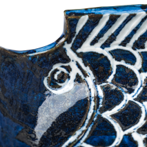 Large Sakana Blue Ceramic Japanese Bowl detail