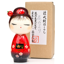 Pretty Red Hairpin Japanese Kokeshi Doll and box