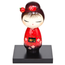 Pretty Red Hairpin Japanese Kokeshi Doll and stand