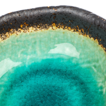 Small Turquoise Crackleglaze Japanese Bowl detail