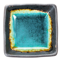 Square Turquoise Crackleglaze Japanese Sauce Dish top