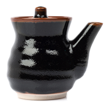 Tenmoku Black Japanese Soy Sauce Pot side