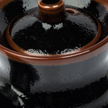 Tenmoku Black Japanese Soy Sauce Pot top