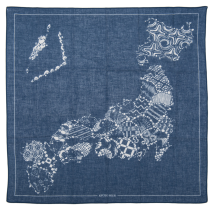 Blue Map Japanese Cotton Handkerchief