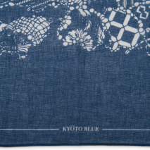 Blue Map Japanese Cotton Handkerchief detail