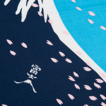Blue Mount Fuji Japanese Cotton Handkerchief detail