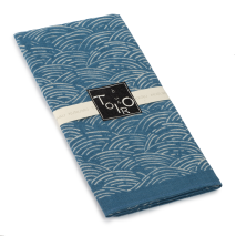 Blue Seikaiha Cotton Japanese Handkerchief side