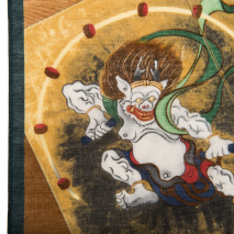 Fujin Raijin Traditional Japanese Handkerchief detail