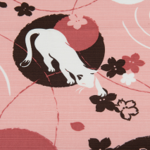 Large Brown and Pink Cat Japanese Furoshiki detail