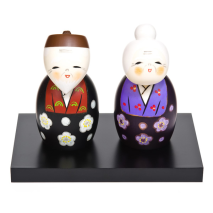 Large Happy Life Together Kokeshi Doll Set and base