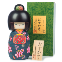 Large Premium Navy Floral Japanese Kokeshi Doll and gift box