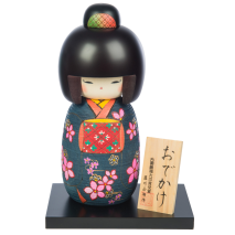 Large Premium Navy Floral Japanese Kokeshi Doll and base