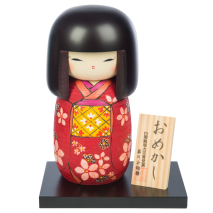Large Premium Red Floral Japanese Kokeshi Doll and base