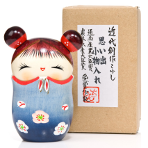 Memory Blue Trinket Box Kokeshi Doll and gift box