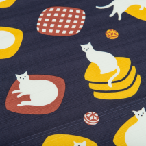 Navy and White Cat Medium Japanese Furoshiki detail