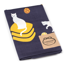 Navy and White Cat Medium Japanese Furoshiki folded