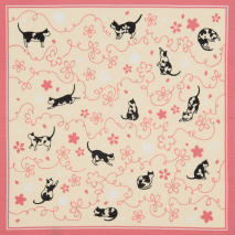 Pink Lucky Cat Japanese Cotton Handkerchief open