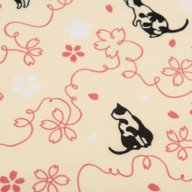 Pink Lucky Cat Japanese Cotton Handkerchief detail
