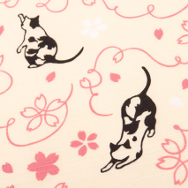 Pink Lucky Cat Small Japanese Furoshiki detail