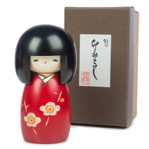 Pretty Girl Red Plum Japanese Kokeshi Doll and gift box