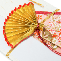 Red and Gold Fan Japanese Shugi Bukuro detail
