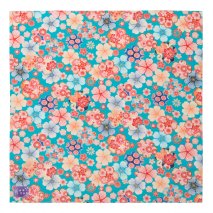 Turquoise Floral Japanese Ladies Handkerchief